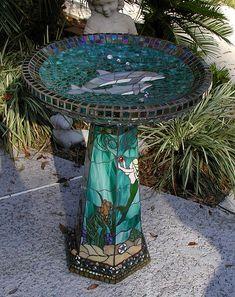 Mosaic Dolphin Birdbath