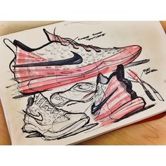 Sketches we like / Sneakers sketche / Pen / Quick Shading / red / by Jalal Enayah Sneakers Sketch, Industrial Design Sketch, Sneaker Art, Car Design Sketch, Sketch Markers, Technical Drawing, Copics, Designs To Draw, Illustrations Posters