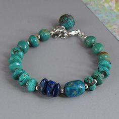 Turquoise Chrysocolla Lapis Bracelet Sterling Silver di DJStrang