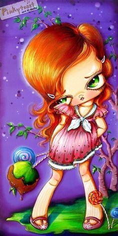 Sour Apple-Purple Candy Girl-Big Eye Sweet Tooth Baby-Pinkytoast Art Print-5x10. $14.00, via Etsy.