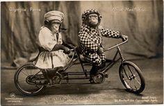 """Circus Chimpanzees """"Mr et Madame X"""" Riding Tandem Bicycle, Paris, c. 1905"""