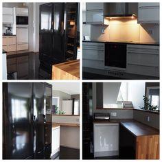 Moderni keittiö, jossa puutaso tuo sopivasti lämpöä tilaan. Kitchen Cabinets, Table, Furniture, Home Decor, Trendy Tree, Restaining Kitchen Cabinets, Homemade Home Decor, Kitchen Base Cabinets, Tables