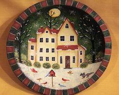 Christmas Folk Art Hand Painted Vintage Folk Art by Ravensbend