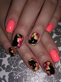 Elegant and Cute Acrylic Nail Designs, unique ideas for you to try in special day or event. Diy Nail Designs, Acrylic Nail Designs, Tropical Nail Designs, Fingernail Designs, Pedicure Designs, Hawaiian Nails, Nail Art Fleur, Vacation Nails, Flower Nail Art
