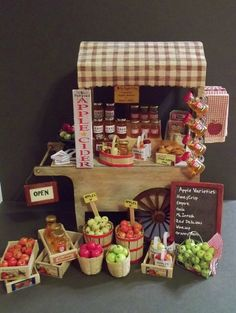 Dollhouse Miniature Apple Peddlers Cart / Apple Cart / Roadside Stand OOAK  - FREE Ship USA