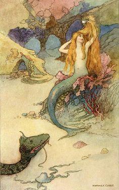 the Little Mermaid of Merfolk Tales - Illustration by Warwick Goble Art And Illustration, Mermaid Illustration, Book Illustrations, Warwick Goble, Drawing Mermaid, Mermaid Fabric, Tattoo Mermaid, Mermaid Mermaid, Mermaid Shower Curtain