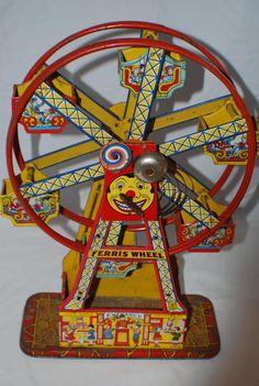 1930s J CHEIN tin toy wind up hercules ferris