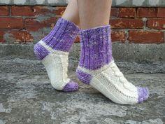 White violet braided hand knitted women socks Comfortable | Etsy