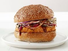 Asian Chicken Burgers recipe from Food Network Kitchen Healthy Dinners in 40 Minutes or Less Asian Chicken Burger Recipe, Hoisin Chicken, Healthy Chicken, Chicken Recipes, Chicken Sandwich, Chicken Panko, Crusted Chicken, Chicken Meals, Lemon Chicken