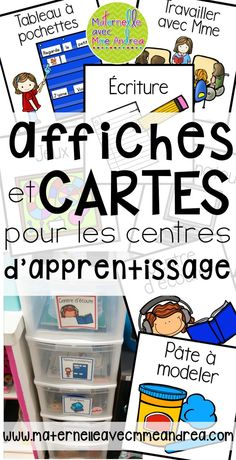 FRENCH Literacy Centre cards and posters Kindergarten Classroom Organization, Classroom Labels, Teaching Kindergarten, Classroom Management, Teaching Kids, Classroom Ideas, French Teaching Resources, Teaching French, Teacher Resources