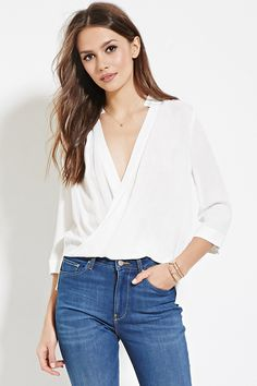 Forever 21 Contemporary - A textured woven top with cuffed 3/4 sleeves, a plunging surplice front, and a flat collar.