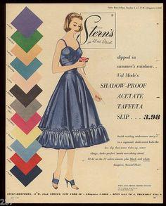 Val Mode Acetate Taffeta Slips in a rainbow of wonderful hues - 1955 ~ Better if in real silk taffeta