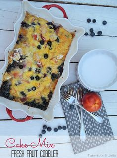 Cake Mix Fresh Fruit Cobbler!! The Perfect Dessert for all your summer fruit!! And, it's so EASY!! - Tatertots and Jello