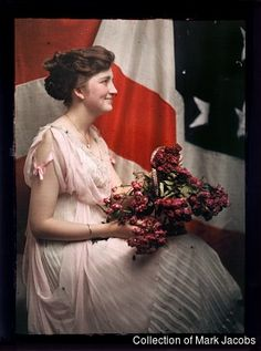 Woman with U. S. Flag. Photographer Unknown. Autochrome 18 × 13 cm, circa 1918