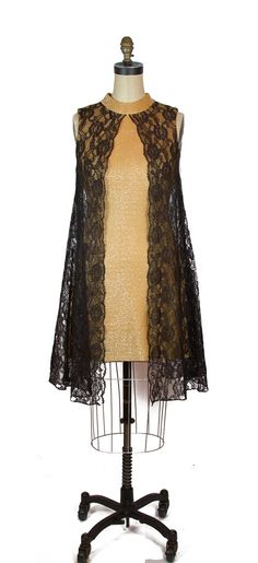 b87fa5e49e0 1960s Dress ~ Gold Lurex Wiggle Cocktail Dress with Black Lace Tent Dress  Overlay Vegas Dresses