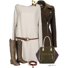 Olive, White & Brown, created by jafashions on Polyvore