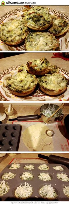 Spinach ,bacon and cheese cup appetizers!@allthecooks