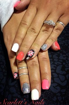 Neon pink coral black white silver sparkle daisy summer gel nails #scarlettsnails