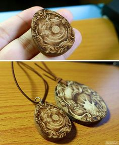 pyrography(wood burning) on wooden pendant.