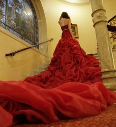 red luxury wedding dress