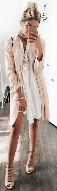 #summer #lovelyluciano #outfitideas |  Nude Duster + Little White Dress