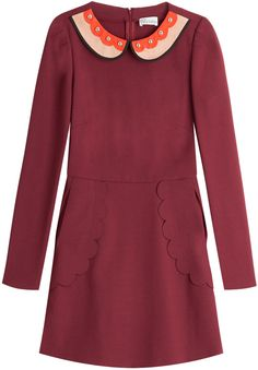 RED Valentino Flared Dress with Statement Collar
