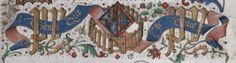 l'emblématique d'Isabelle de Portugal en marge du folio de dédicace du Mortifiment de Vaine Plaisance de René d'Anjou (Bruxelles, KBR, Ms. 10308, fol. 1) : l'enclos palissadé, le mot TANT QUE JE VIVE et le chiffre PY