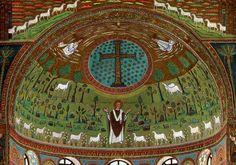Ábside de San Apolinar el Nuevo Carolingian, Romanesque, Christian Art, Kirchen, Religious Art, Art History, Taj Mahal, Saints, Arquitetura