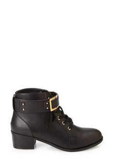 F21 Buckled Lace-Up Booties