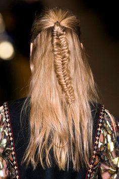 Boho hairstyle - half up fishtail braid