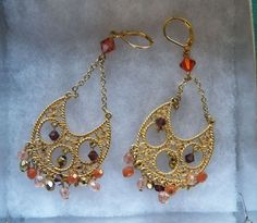 $7.00 Goldtone & Multi-Colored Rhinestone Fan Earrings (1416-2147MS) jewelry, fashion #Unbranded #DropDangle