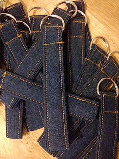denim keychain with a loop...fun idea for make and take. The girls could embellish.