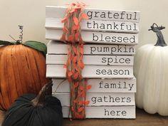 Thanksgiving Books, Thanksgiving Decorations, Outside Fall Decorations, Fall Harvest Decorations, Farmhouse Books, Farmhouse Style, Farmhouse Decor, Dollar Tree Fall, Dollar Tree Pumpkins