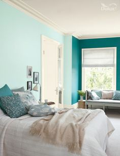 Showcase the versatility of #teal with a two-tone effect in your bedroom. We have used proud peacock and ocean ripple to create this look.