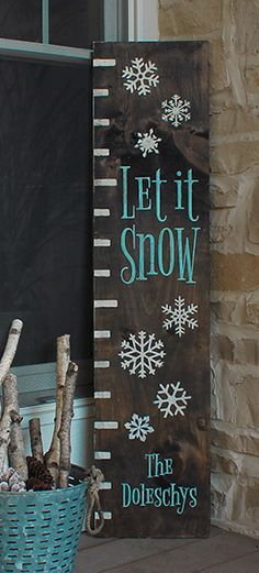 Let it Snow ruler welcome sign. Christmas Signs, Christmas Crafts, Christmas Decorations, Diy Wood Signs, Rustic Signs, Pallet Crafts, Wooden Crafts, Let It Snow Sign, Porch Welcome Sign