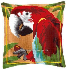 Buy Red Macaw Cushion Front Chunky Cross Stitch Kit Online at www.sewandso.co.uk