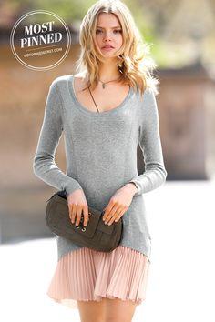 A sheer peplum pleated skirt combine for an ultra-feminine look. | Drop-wait Knit Dress