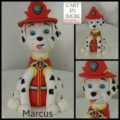 Figurine Marcus de pat patrouille en pâte à sucre Marshall paw patrol