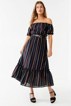 4d2535ce42f Slide View  1  UO Off-The-Shoulder Ruffle Hem Striped Midi Dress