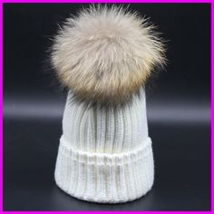 2016 Fashion Winter Warm Thick Hats For Women Real Raccoon 18cm Fur pompom Beanies gorras de mujer Cap