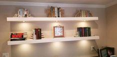 Floating Shelf with LED lights Floating Bookshelves, Led Lights, Display Shelves, Picture Shelves, Shelf Lighting, Led Puck Lights, Shelves, Floating Shelves, Lights