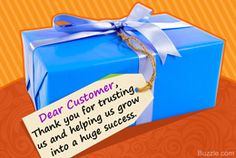 Thank you message to show customer appreciation