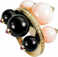 Évasions Joaillières  Or rose ring with diamonds, pink opals, onyx and sapphires by Cartier