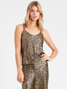 Banana Republic Sequin Camisole Banana Republic Outfits, Denim Shoes, Holiday Fashion, Holiday Style, Sequin Top, Blouse Dress, Winter Sale, Holiday Dresses, Lounge Wear