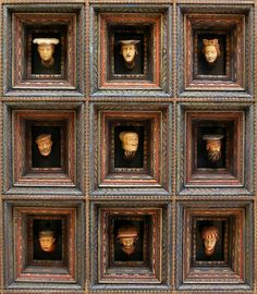 Coffered ceiling in the Envoys' Room at the Wawel Castle adorned with famous Wawel Heads by Sebastian Tauerbach from 1540, originally decorated with 194 heads, royal coats of arms and gilded wooden rosettes