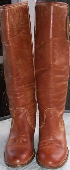 Coach Sara Boots Camel Brown Leather Size 7 B Nice