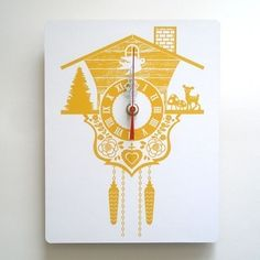 Wall Clock - Cuckoo Clock - Yellow - Wood Panel I bet I old make this!