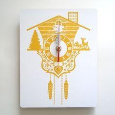 Wall Clock - Cuckoo Clock - Yellow - Wood Panel I bet I old make this!