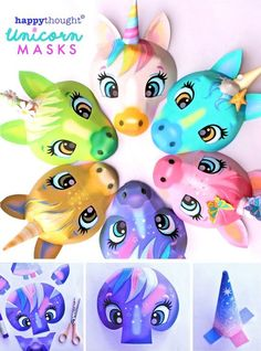 Make your own super cute Unicorn Masks with Happythought's 6 printable mask templates: Daisy, Galaxy, Flutterby, Twinkle, Oceana and Rainbow Unicorn masks! Hooray! Make your own fun Unicorn masks with these great new printable mask templates from Happythought. Six 3D Unicorn masks to download, print and make. Including black and white colour in versions that are ideal for fun playtime, birthday parties, creative activities and family crafting. Unicorn Mask, Cute Unicorn, Rainbow Unicorn, Printable Masks, Unicorn Printables, Carnival Crafts, Happy Birthday, Birthday Parties, Notting Hill