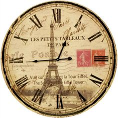 clock face Tour Eiffel with stamps